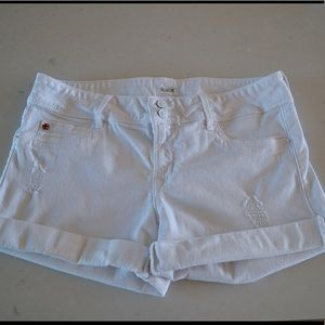 Hudson White Cuffed Shorts